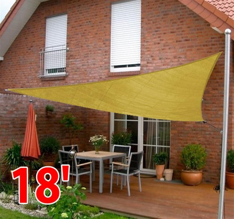 outsunny 18u0027 triangle patio pool sun shade sail canopy sand - Patio Sun Shades