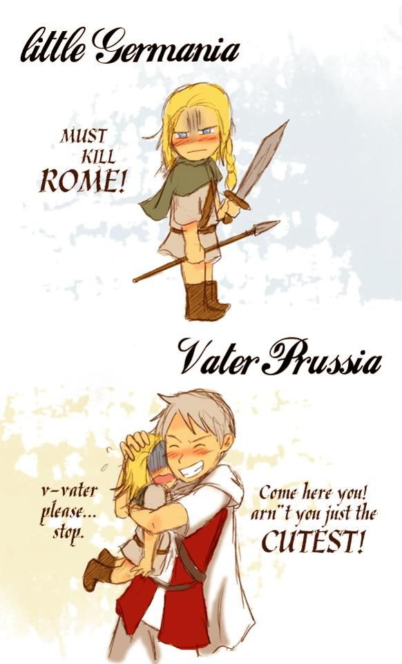 Hetalia role-reversal - little Germania and Vater Prussia | Hetalia