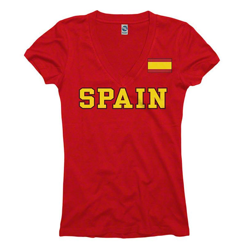 Spain Women's Red Country Flag Pole V-Neck T-Shirt