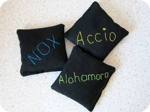 I Love these!! Make Bean Bags. Write different spells on them. Then let the kids fight. The have to say the spell then throw the right bean bag and try to hit the other person.
