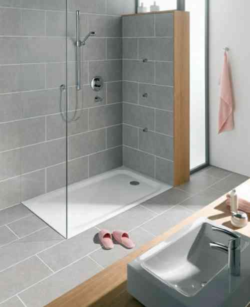 Carrelage douche pour une salle de bain moderne Feng shui bedroom - Salle De Bain Moderne Grise