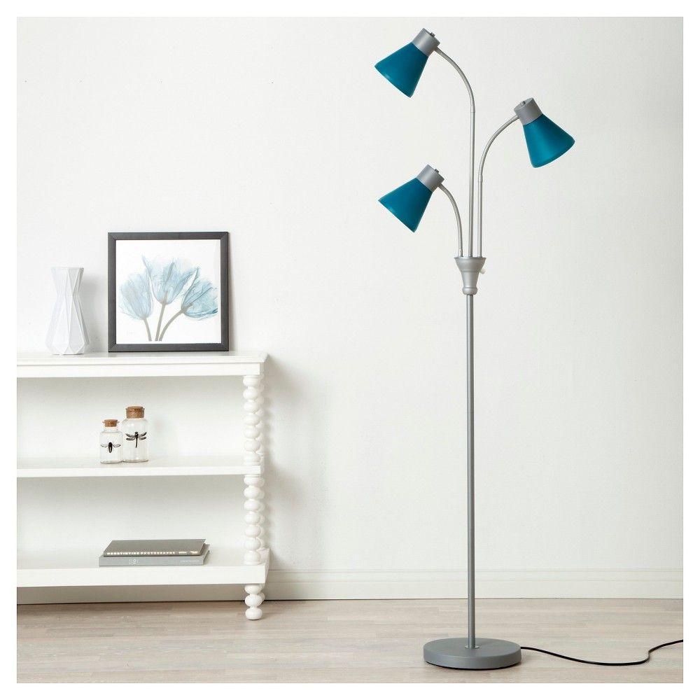 MultiHead Floor Lamp Silver/Crimson CA Room