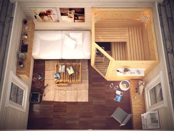 Design Aussensauna aussensauna gartensauna 400 x 400 cm saunahaus harvia bio saunaofen