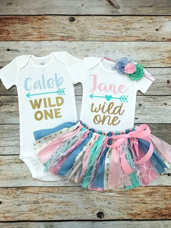 c1bbbada27cb1 Boy Girl Twin Wild One Birthday Outfits, Mint Pink Blue Gold Twin Birthday  Outfits, Twins First Birt