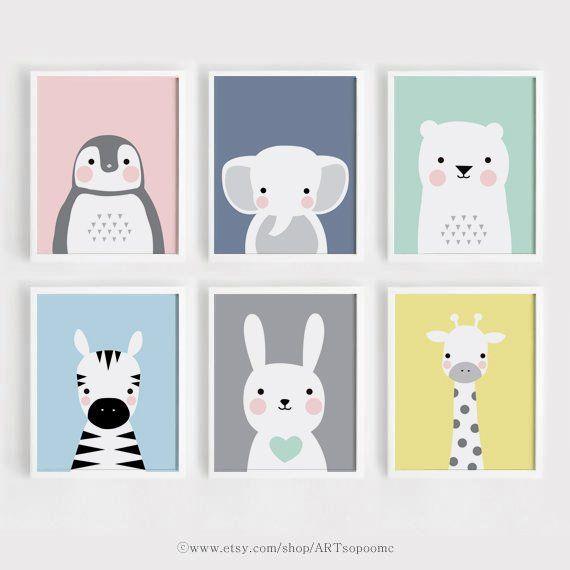 Druckbare Kindergarten Wand Kunst Set von 6 Poster Baby Kunst Kinder Zimmer Dekor 5 x 7, 8 x 10, A4 Hase Bär Tiere Digitaldruck download ARTsopoomc