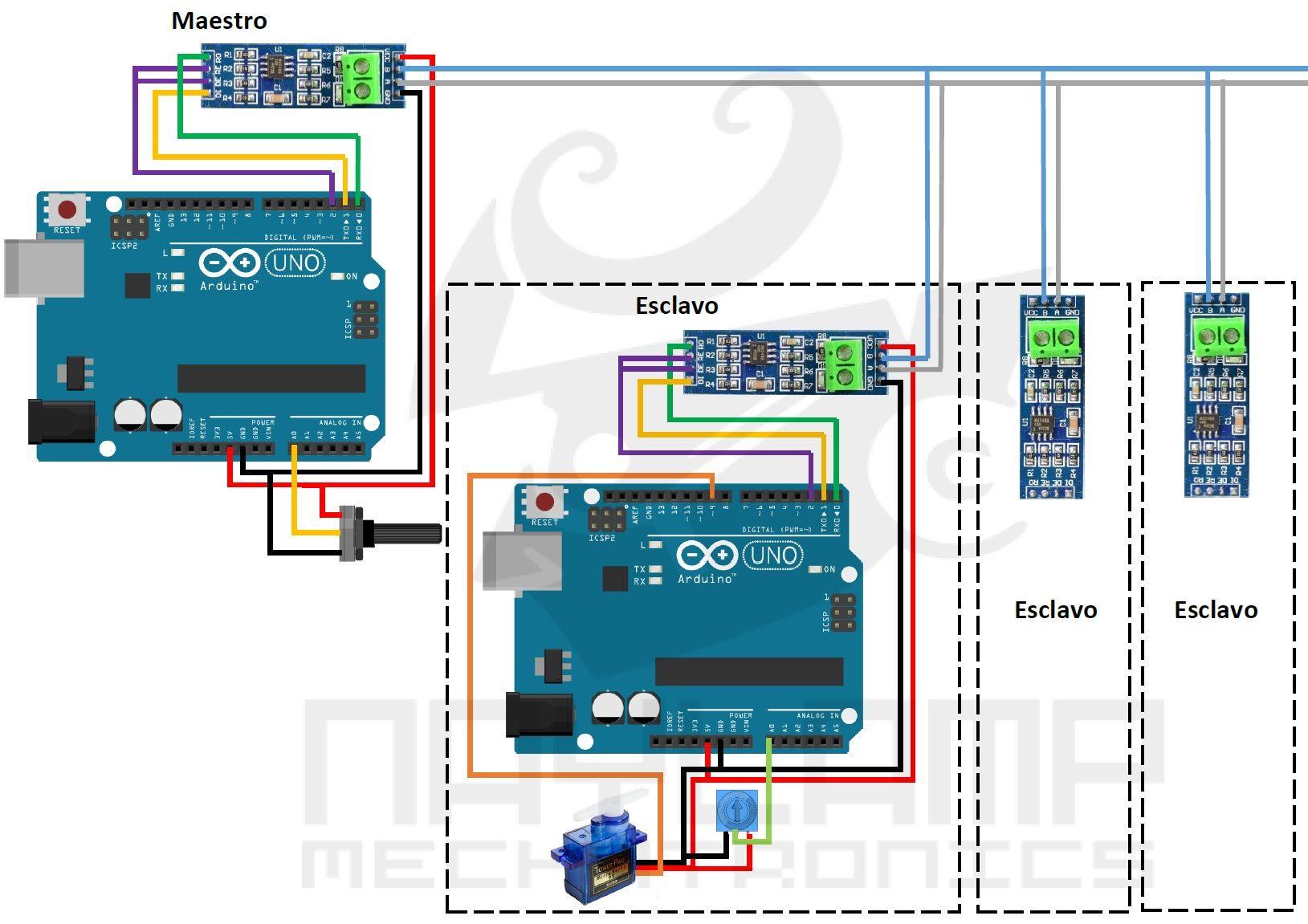 Arduino RS485 half duplex multipunto Maestro Esclavo | Arduino in ...