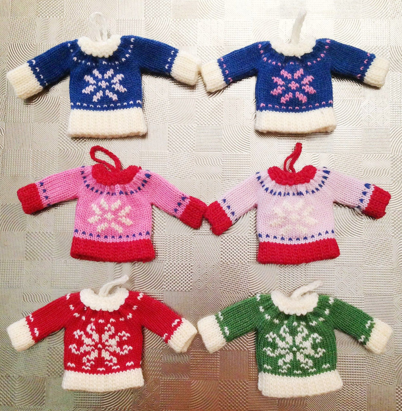 Set of 6 mini sweater ornaments at Christmas