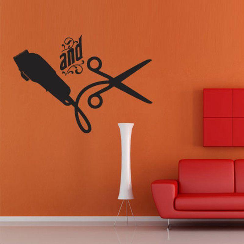 Barber shop sticker name scissors clipper hair salon decal for Stickers salon