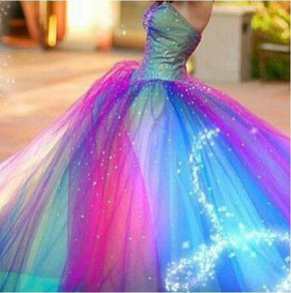Rainbow wedding dress dress clothes prom wedding pink blue rainbow wedding dress dress clothes prom wedding pink blue purple bustier dress ball gown junglespirit Image collections