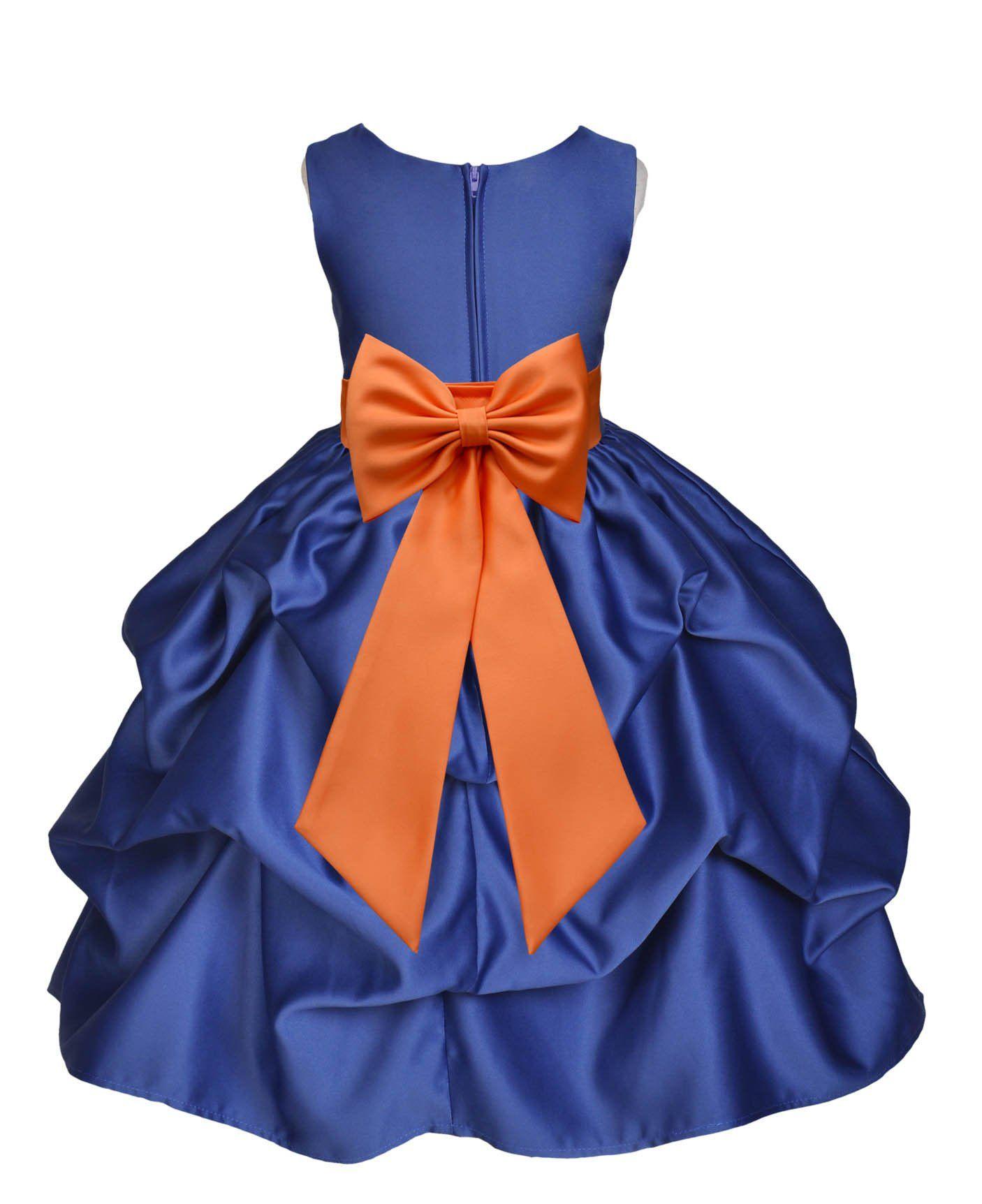 Navy blue pickup satin flower girl dress princess bridesmaid beauty