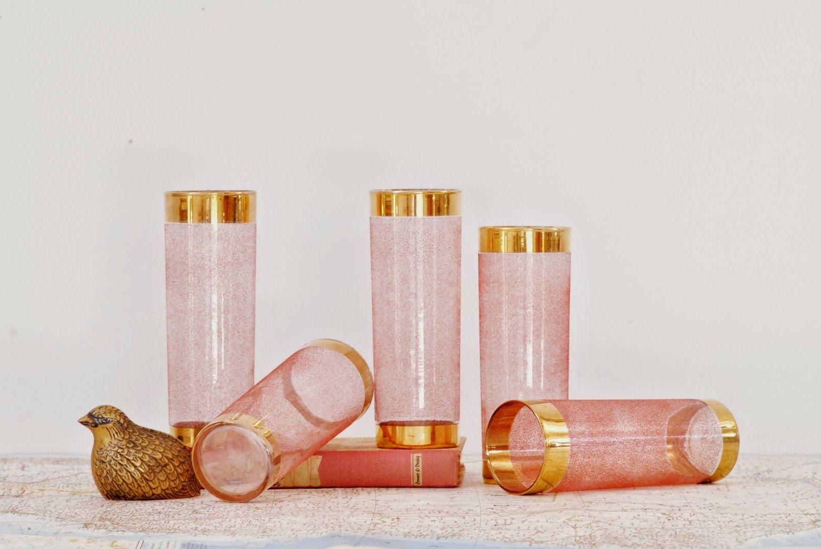 pink + gold vintage glasses