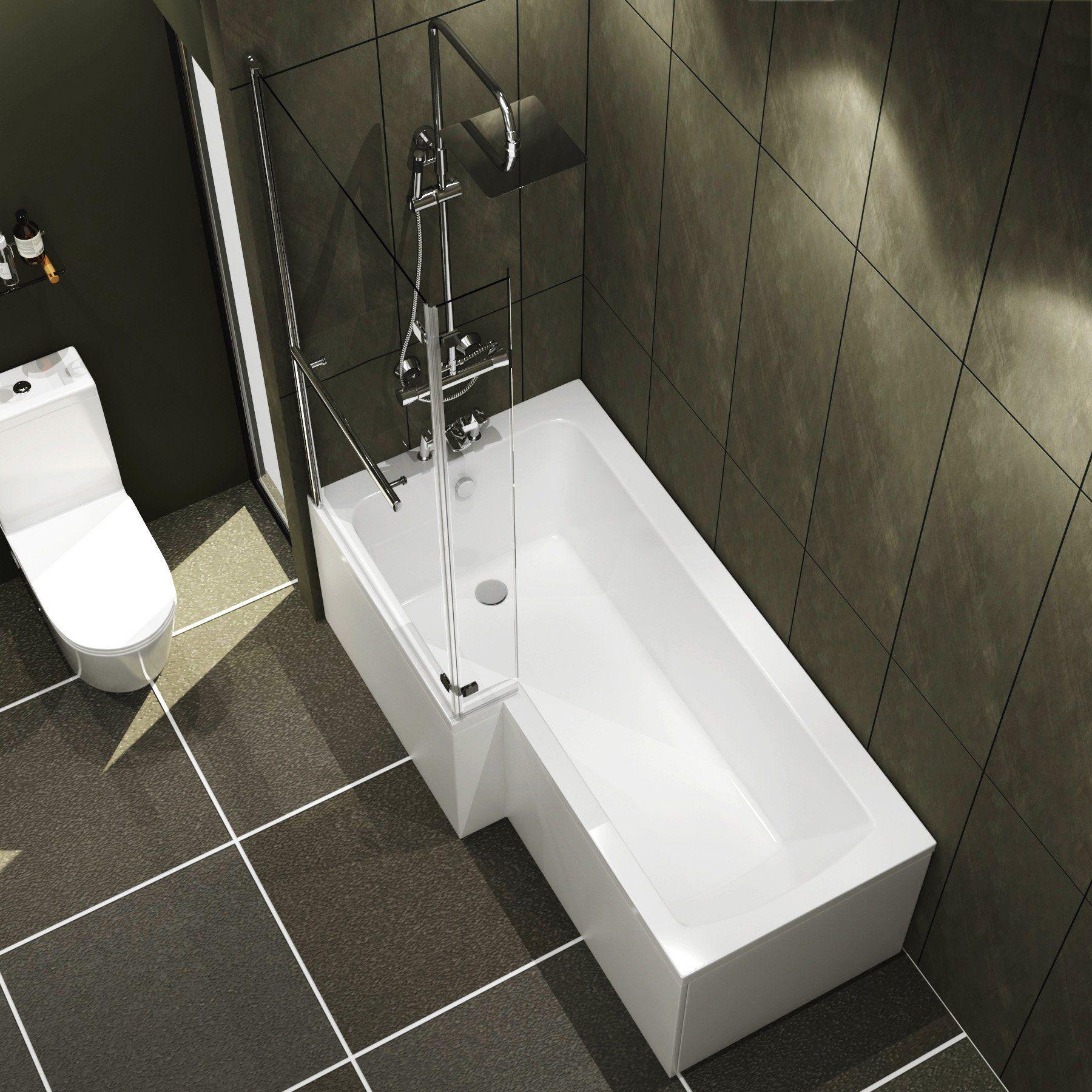 Modern Qubix 1500 x 850mm Left Hand L Shaped Shower Bath tub with Pivot Screen & Front Panel