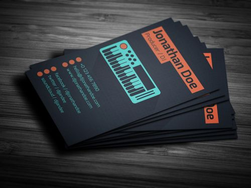 Flat Producer Dj Business Card Businesscards Music