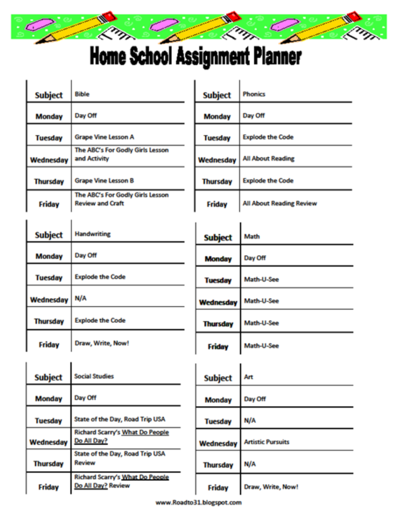 Homeschool Curriculum Choices and Personal Schedule - FREE ...