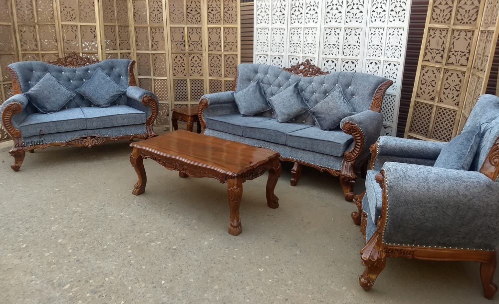 Teak Wood Sofa Set Natural Finish Sf 8