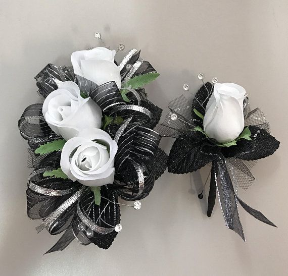 White Roses Black Silver Corsage Boutonnire Set Artificial