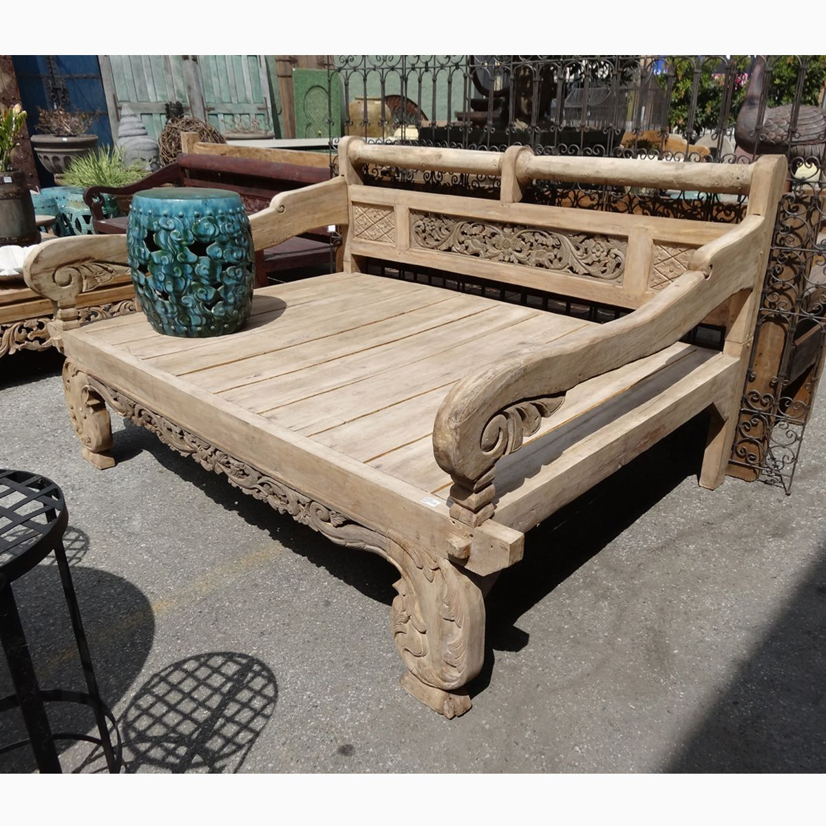Teak carved daybed full size mix furniture