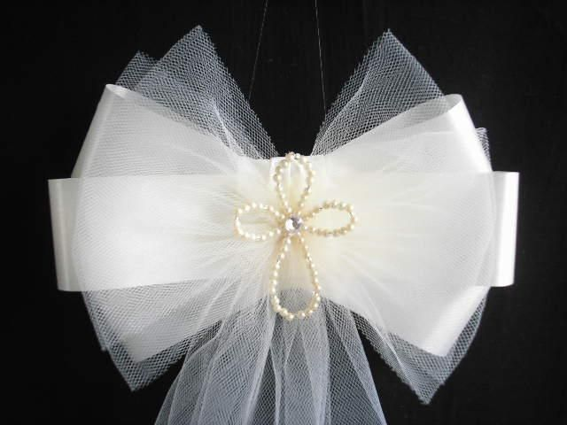 tulle pew bows | Pew Ends/Chairback Pearl Cross Fluffy Tulle Wedding Bows | eBay