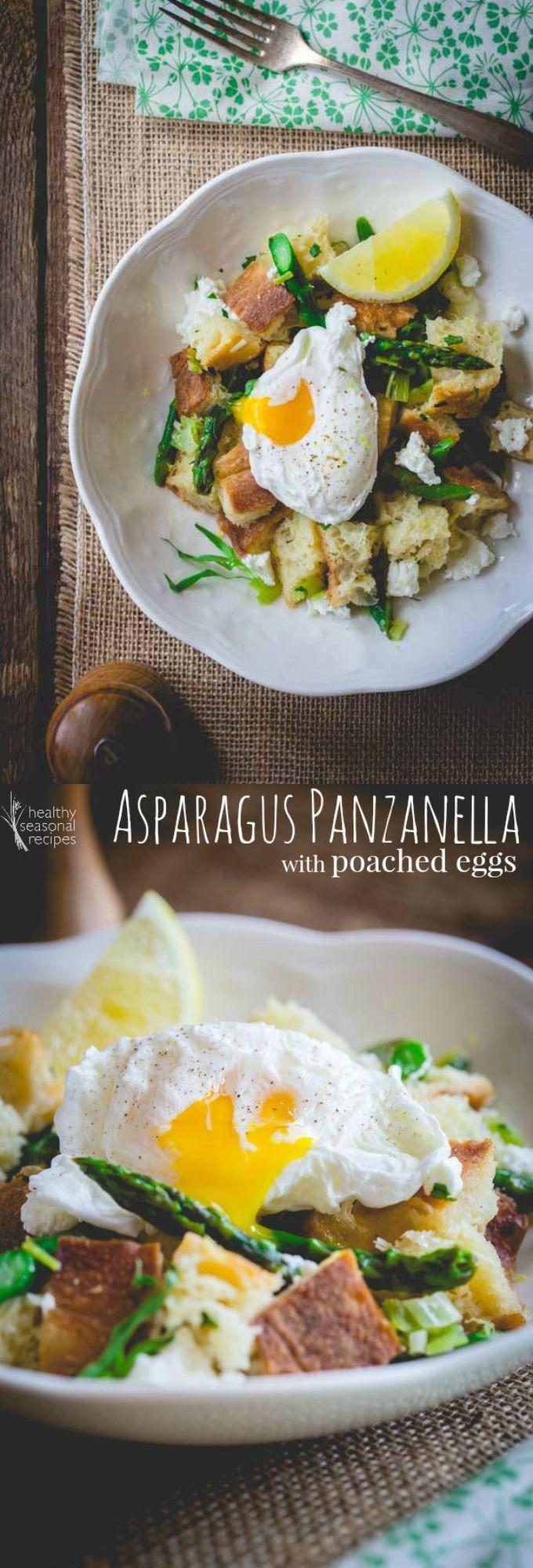 asparagus panzanella with poached eggs - Healthy Seasonal Recipes
