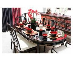Asian Oriental Black Lacquer Diningroom Set Table 6 Chairs Furniture Vintage Ultra Chic Asian Furn Antique Dining Tables Asian Furniture Purchase Furniture