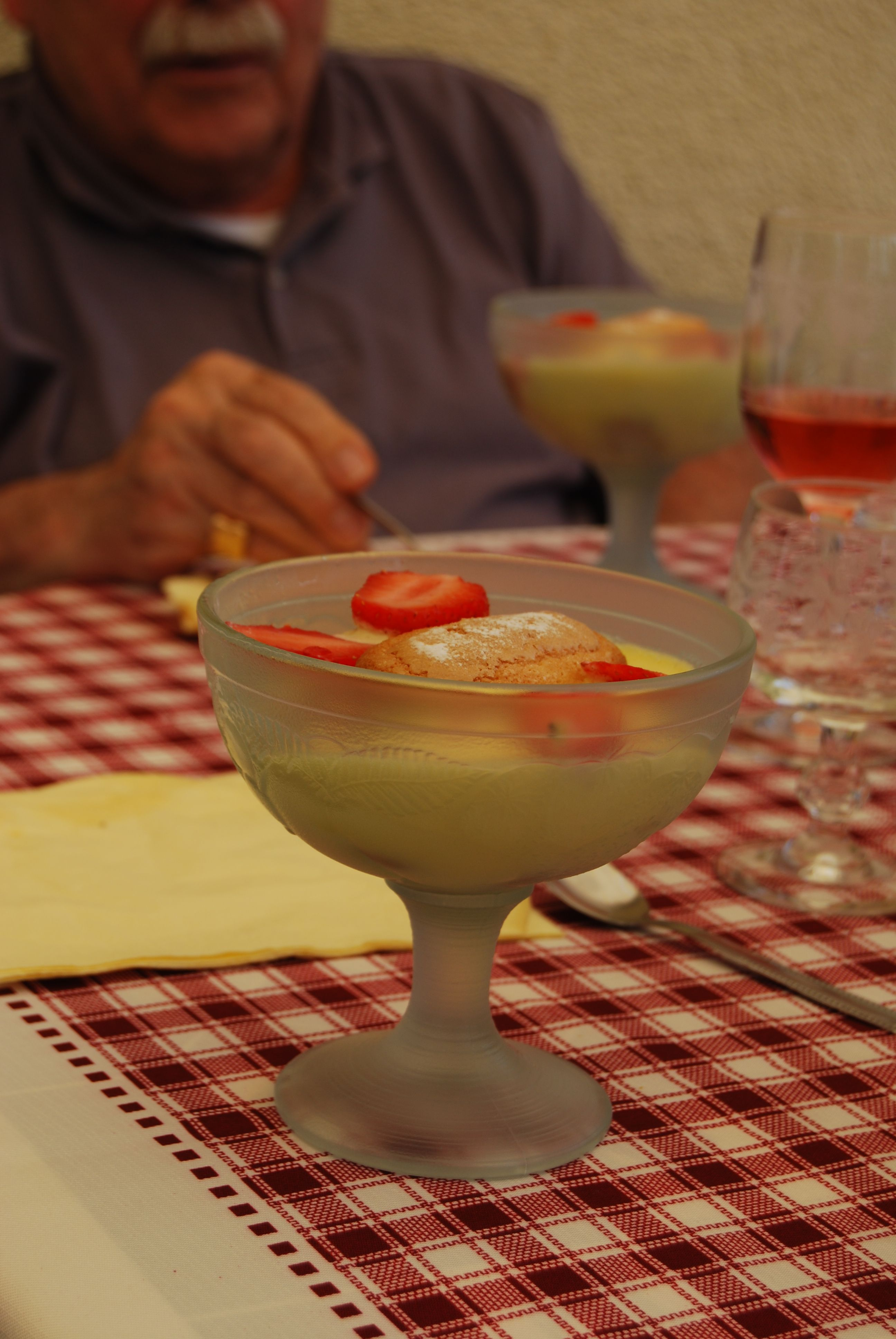 "A strawberries's tiramisu - after a BBQ in the French countryside, an area called ""Bourgogne"""