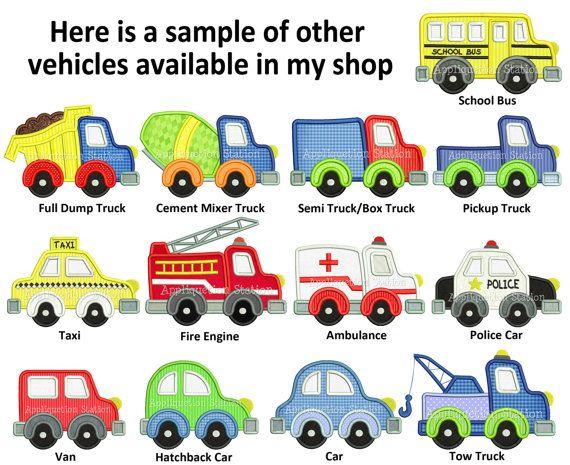 Cute Semi Truck Applique Machine Embroidery Design boy vehicle box ...