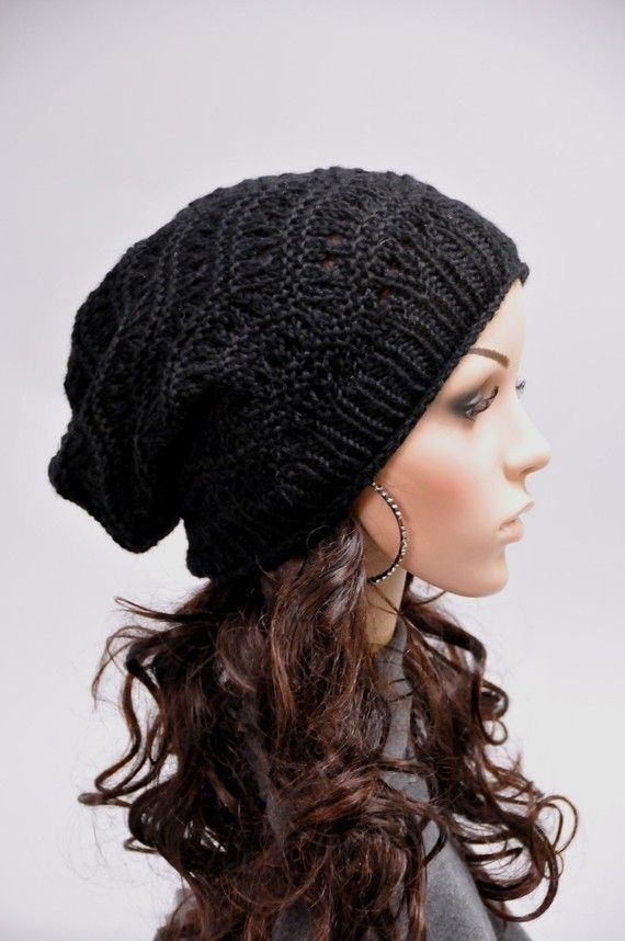 8ad170f6a7c Hand knit hat woman man unisex black hat wool hat - ready to ship ...