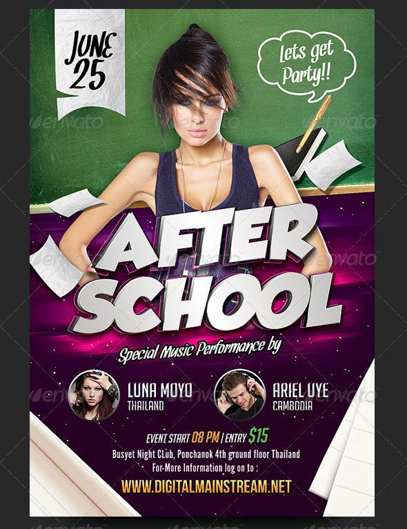 After-School-Party-Flyer-prev Diseño Pinterest School - party flyer