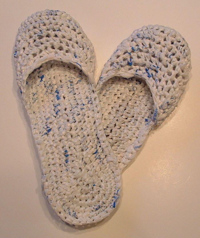 8eda607d263 Make your own Recycled Plastic Bag Sandals - crochet technique ...