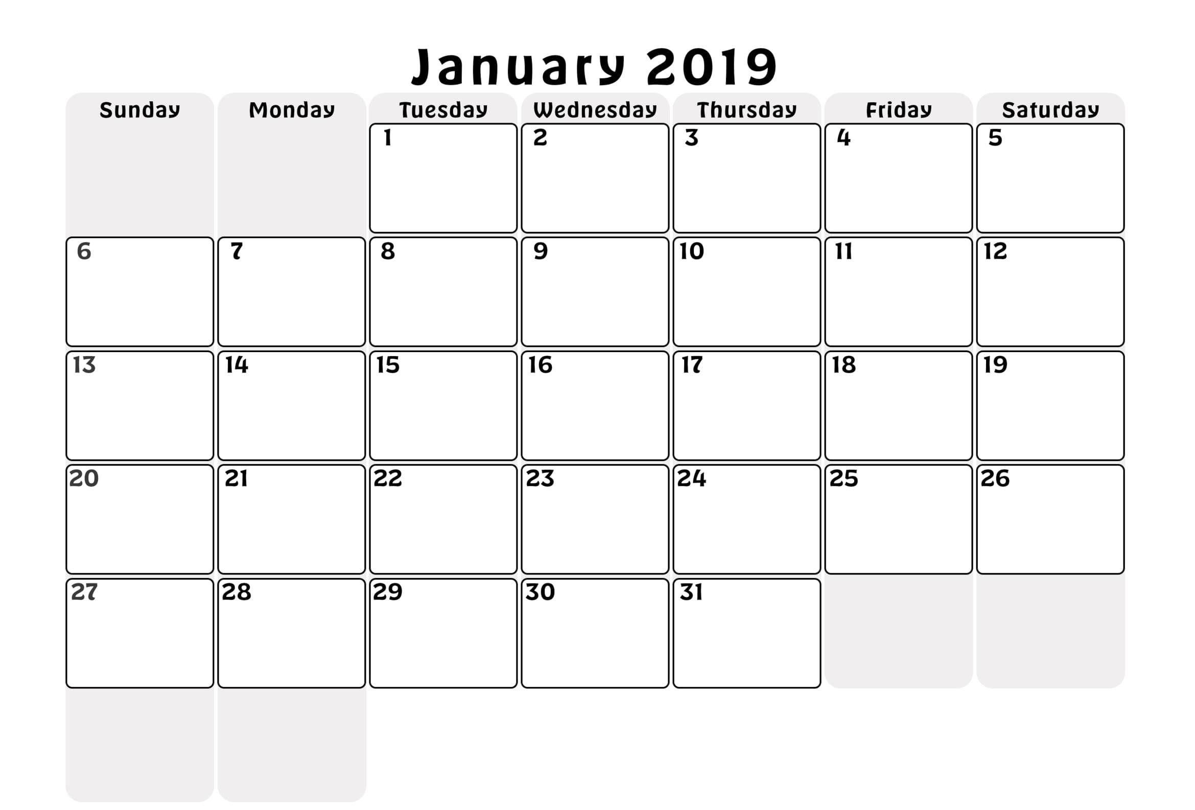 Blank Calendar January 2019 Excel Blank Calendar Printable