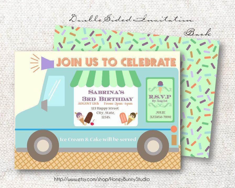 Ice Cream Truck Party Invitation | Ice Cream Party | Pinterest ...