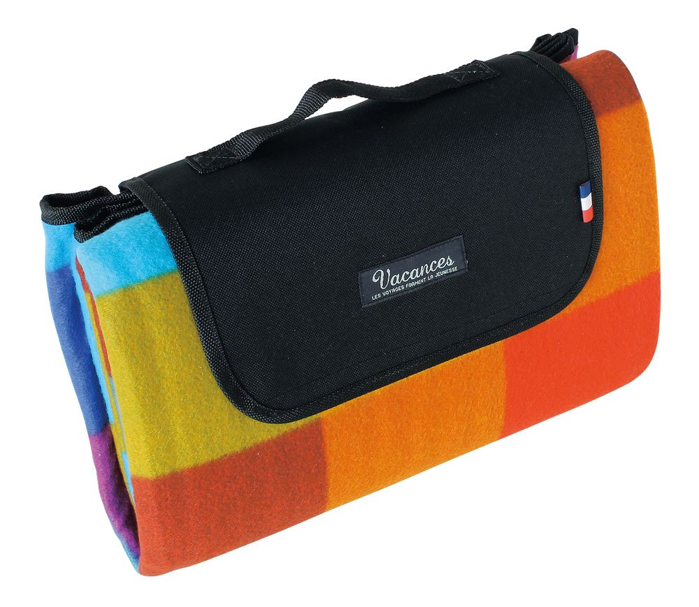 On the go, near or far, keep it in your car!  Light, compact and easy to carry, our blanket is perfect for picnics, outdoor concerts, camping or sporting events. This colorful mat comfortably seats 4-6 people. This moisture resistant outer shell and padded lining with waterproof EPE make it easy to sit on wet grass or warm surfaces.  66.93w X 51.18h Folded: 13.5w X 5d X 9h