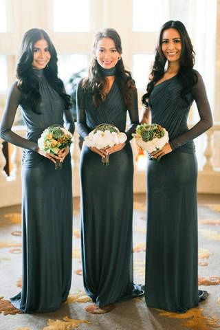 Rissa's bridesmaids in their long-sleeved dresses in platinum gray ...