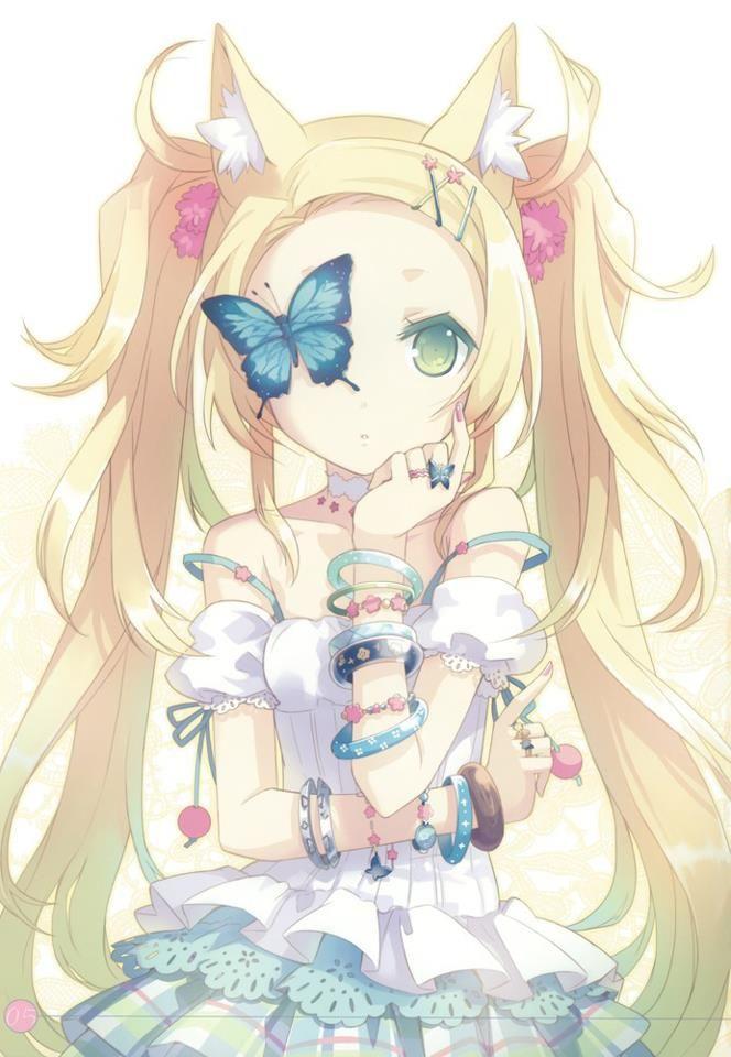 Anime girl - blond hair, green eye, white dress, cat ears, butterfly