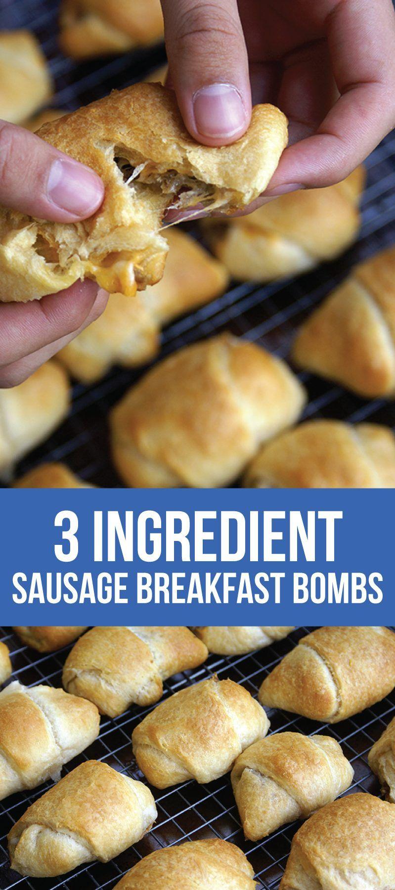 3 Ingredient Sausage Breakfast Bombs #foodanddrink