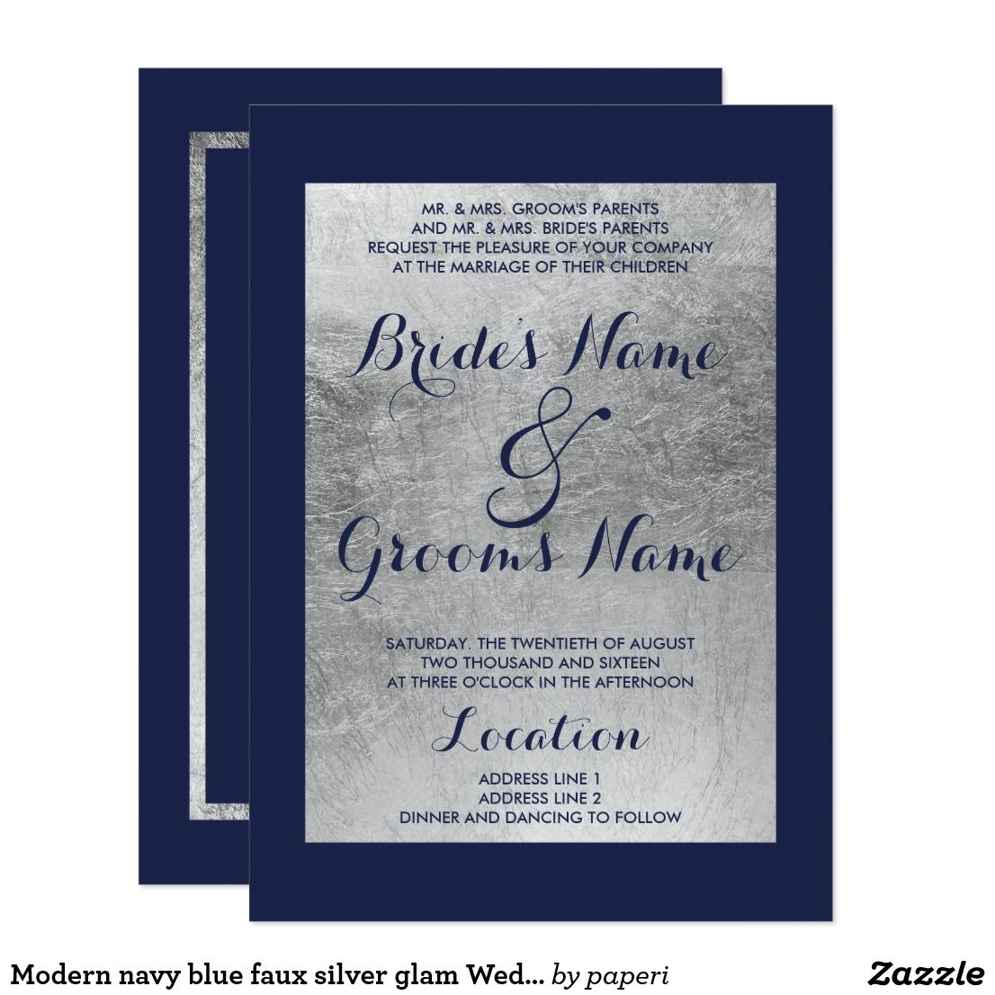 Modern Navy Blue Faux Silver Glam Wedding Invitation Elegant Stylish And Invitationthis Luxury Simple: Blue And Silver Elegant Wedding Invitations At Websimilar.org