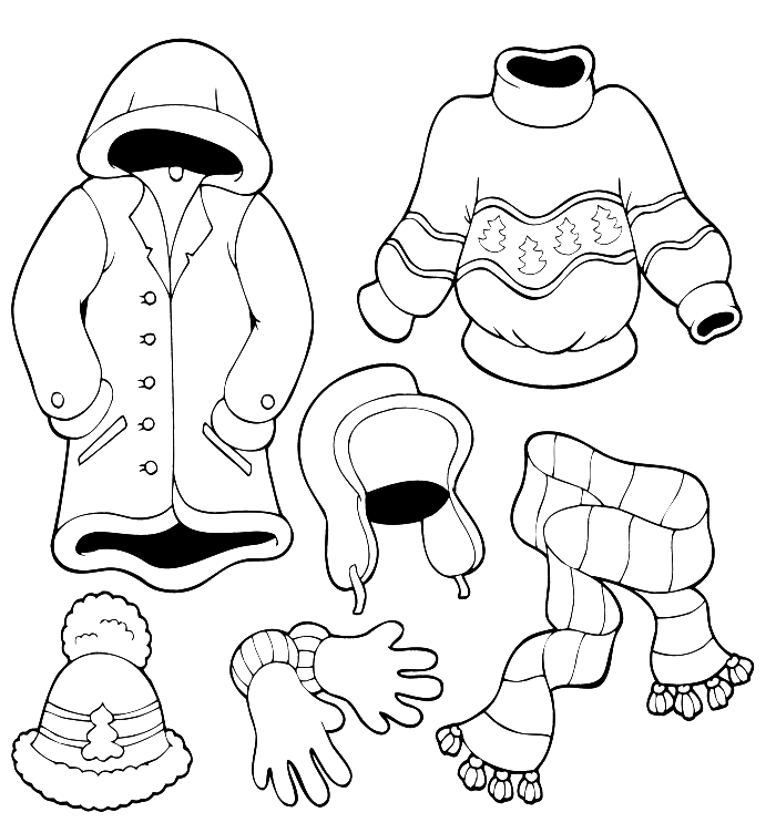 Winter Clothes Warm Coloring Pages