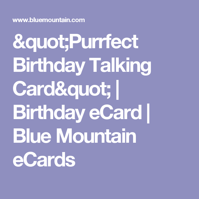 Purrfect Birthday Talking Card