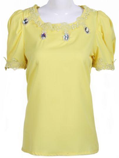 #SheInside Yellow Short Sleeve Rhinestone Embroidery Blouse
