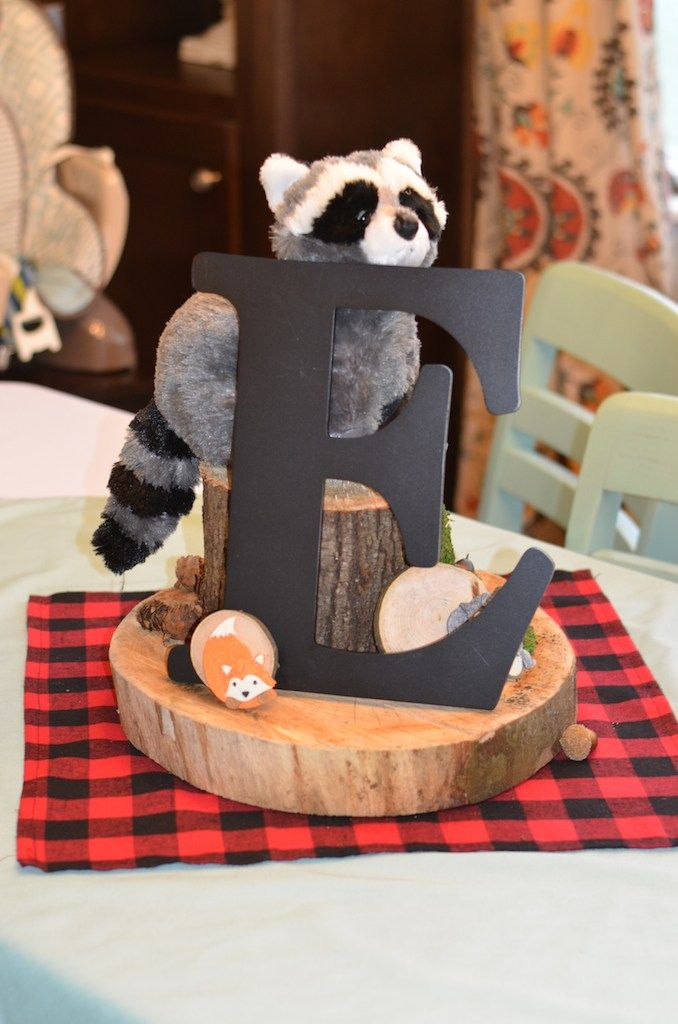 Lumberjack and woodland animals themed first birthday for Animal themed bathroom decor