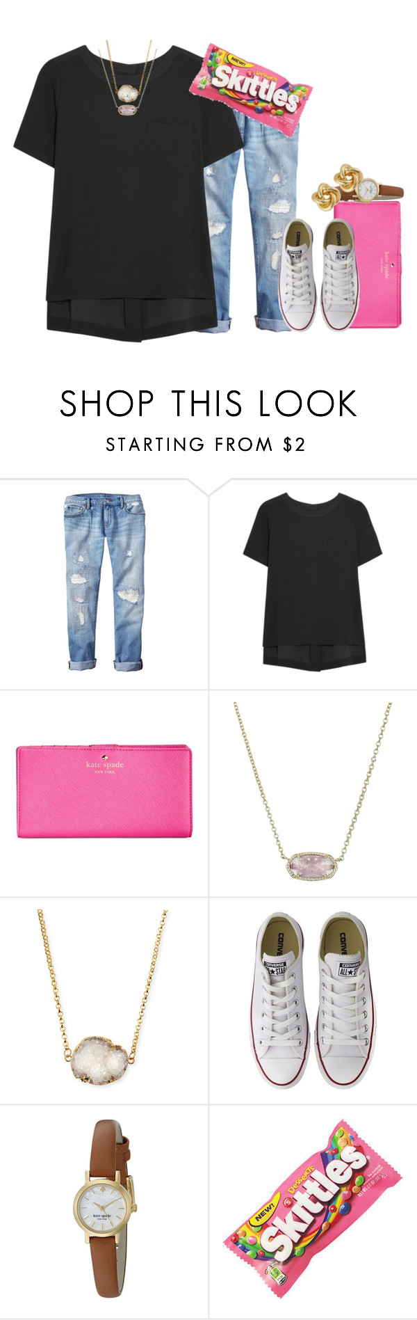 """sweet like candyyyy"" by thefashionbyem ❤ liked on Polyvore featuring moda, Gap, Madewell, Kate Spade, Kendra Scott, Jules Smith, Converse, R.J. Graziano, women's clothing i women"