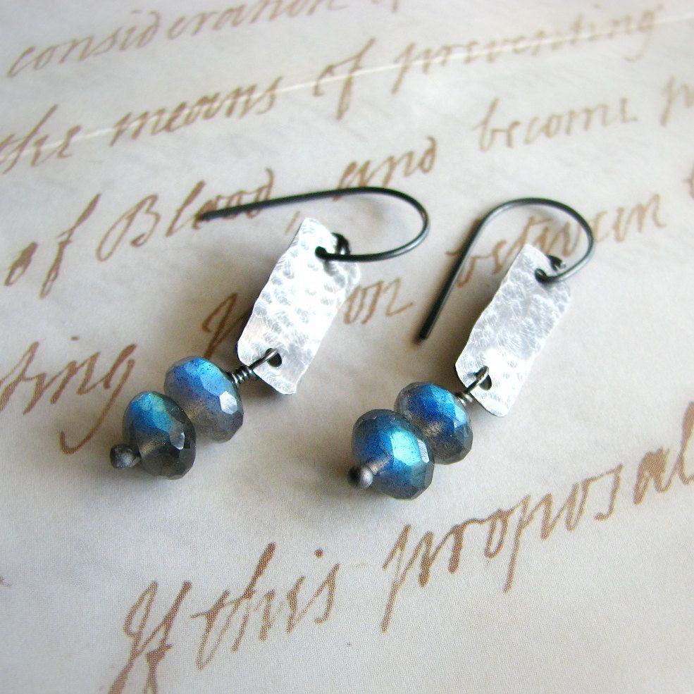 Labradorite earrings, sterling silver and gemstones, blue flash rustic - Beacons. $30.00, via Etsy.