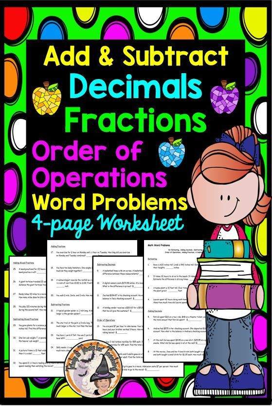 Add Subtract Decimals Fractions Order of Operations Word