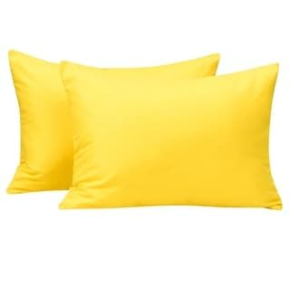 NTBAY Microfiber Toddler Pillowcases, 2 Pcs Zipper Closure Travel Pillow Covers (Yellow)