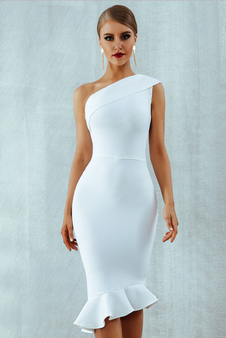 white fitted bandage dress in 2020 | kleider, elegante