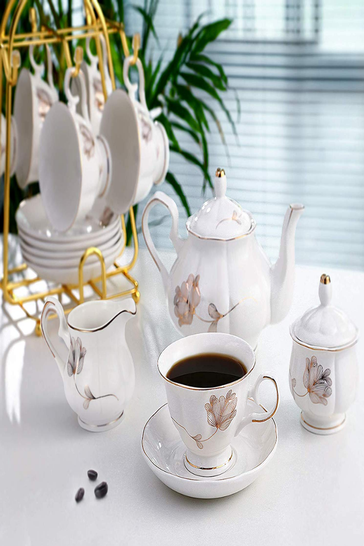 15Piece Porcelain Ceramic Coffee Tea Gift Sets, Cups