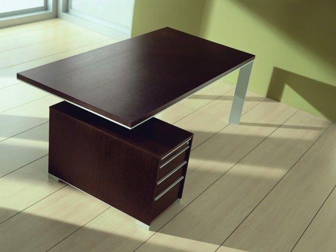 Echtholzfurnier Chef-Schreibtisch IN mit Container   Büromöbel ...