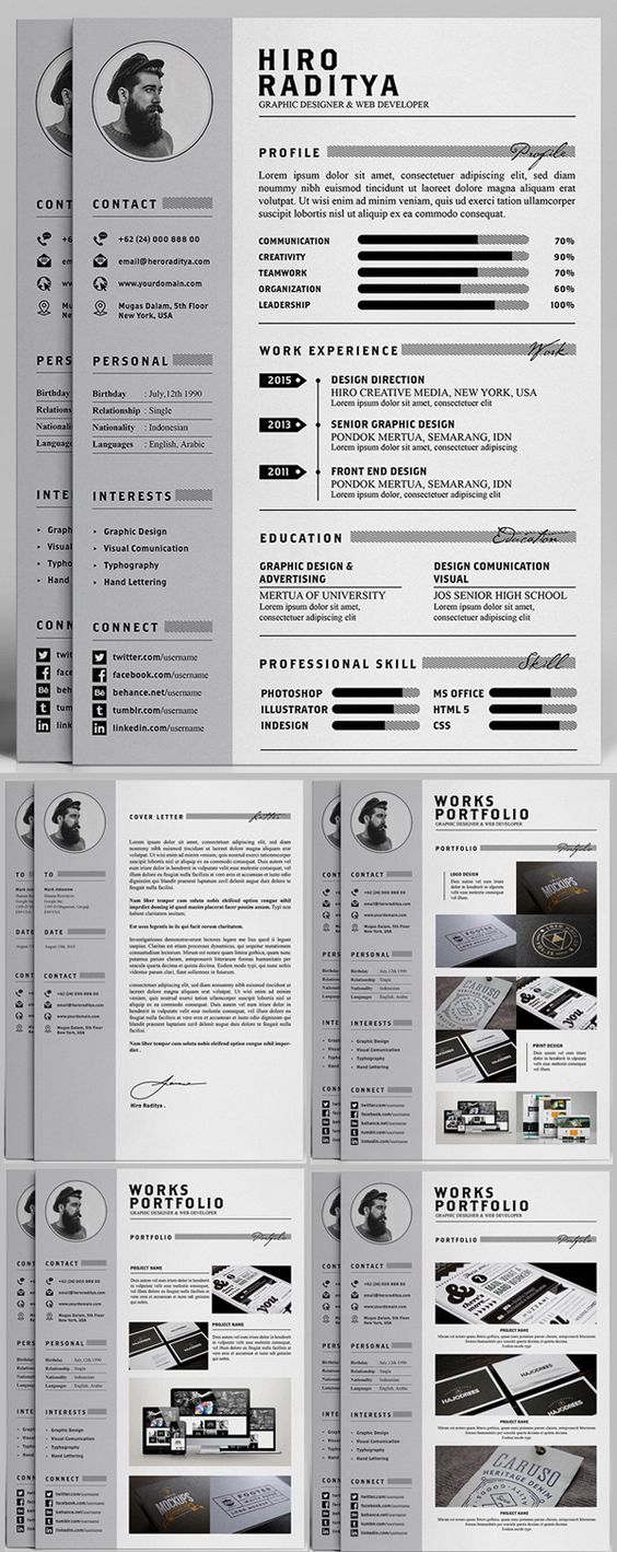 Free Professional Resume Letter  Portfolio Templates Ai Psd