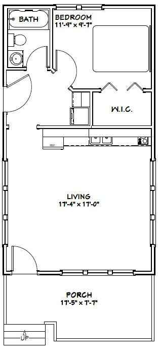 *18x32 Tiny House -- 576 sqft -- PDF Floor Plan -- Model 1D