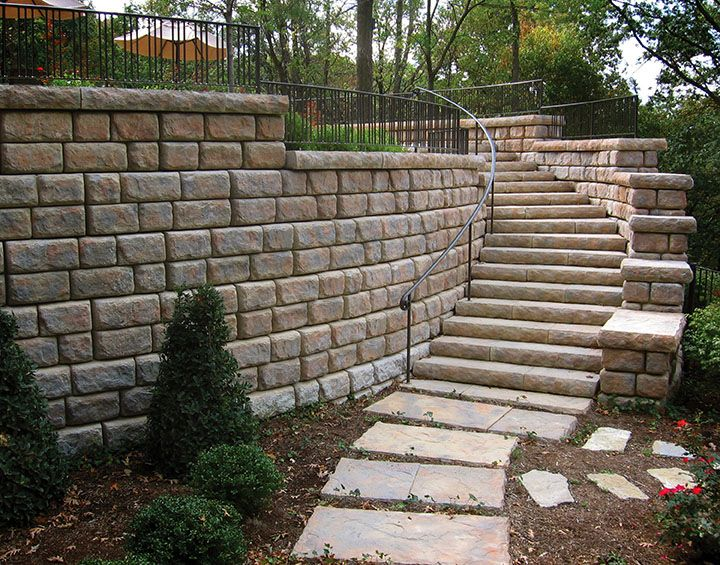 A Curving Staircase Landscaping Retaining Walls Concrete Steps Concrete Staircase